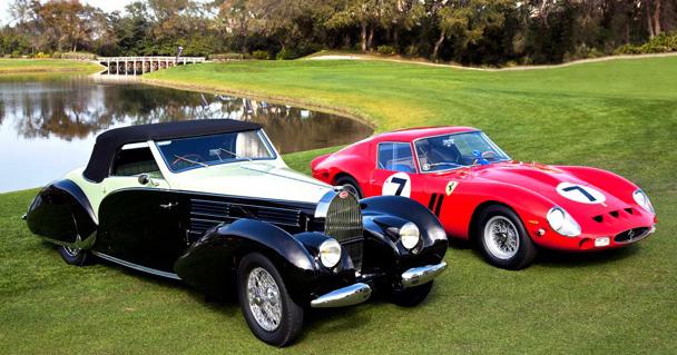 1938 Bugatti Tyoe 57 and 1962 Ferrari 330LM - winners at Amelia Island Concours d'Elegance