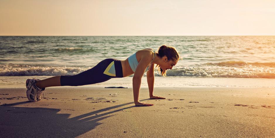 Beach Body, exercising at the beach - Yoga, Running, High-Intesity Interval Training, Swimming