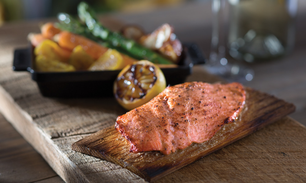 Cedar-Plank Roasted Salmon - recipe for a light, healthy, calorie-crunching seafood dish from Seasons 52