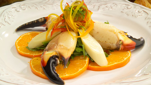 Honey Citrus Stine Crab Claws with Hearts of Palm Salad - Justin Timineri - Offical Chef of Florida