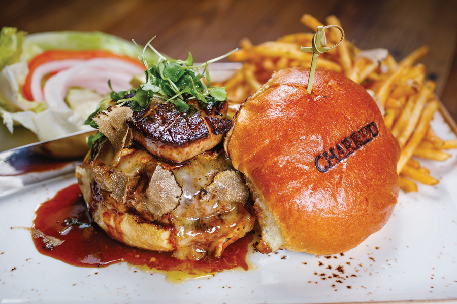 Naples Illustrated's Dining Awards - Best Burger - Jimmy P's Charred - Jimmy P's Charred's U.S. 41 Burger: ground Kobe beef, seared foie gras, triple-cream brie, and shaved black truffles