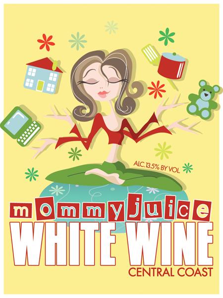 Mommy juice white wine label