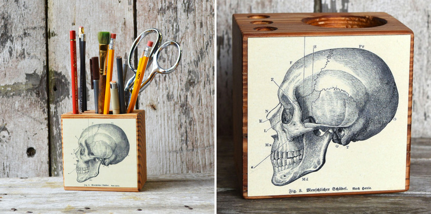 Peg & Awl - Small Medical Desk Caddy: No. 1, Skull - handcrafted gifts from reclaimed materials