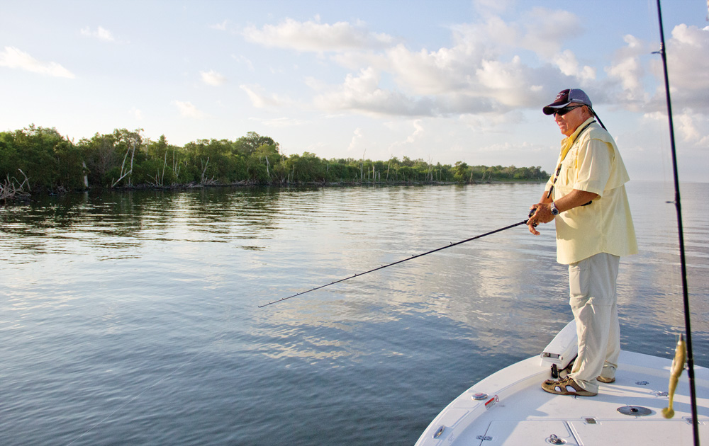 Roland Martin fishing the Ten Thousand Islands ares in search of snook and redfish
