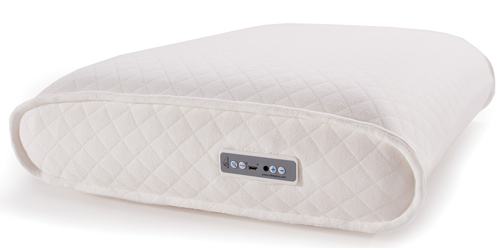 Enjoy a little pillow talk with Sleepow's Memory Foam Sound Therapy Pillow, which includes a built-in MP3 player and speakers.