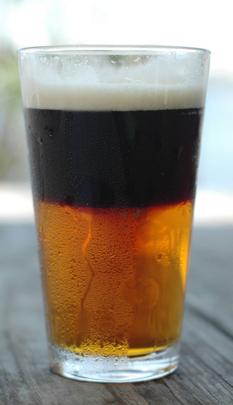 Snakebite - beer cocktails for Labor Day -Left Hand Brewing Co. Milk Stout mixed with Kely's Traditional Cider