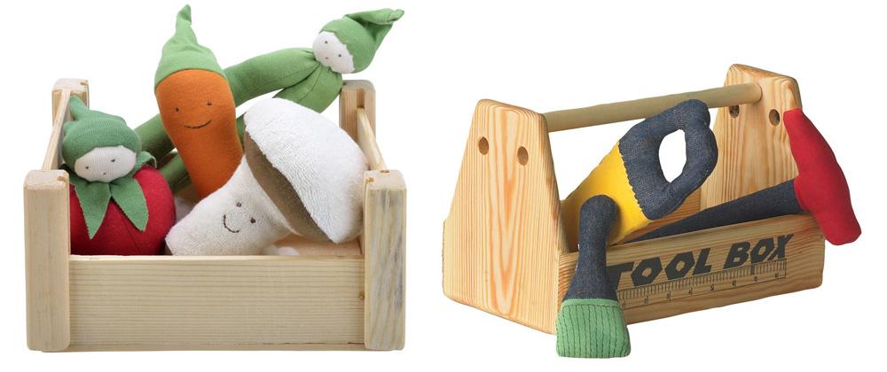 Under the Nile - Organic Cotton Toys - Veggie Crate Plush Toys - Tool Box with Tools plush toys