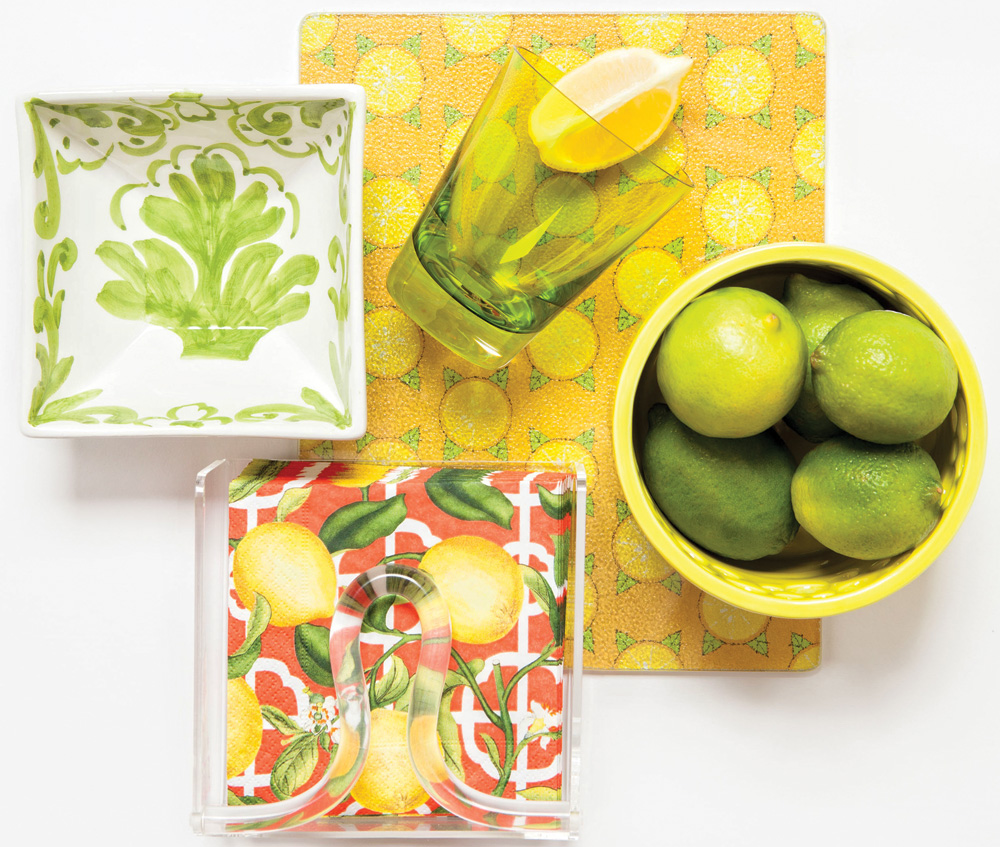 Vitamin C - Patterned cutting board, hand-painted bowl, geometric bowl, napkins, Summerfields, Naples; Baccarat glass, Br Uno, Naples; clear napkin holder, Horse of a Different Color, Naples - Cocktail recipe from Tommy Bahama Restaurant & Bar - Tommy Bahama Sangarita