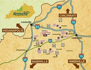 Map of the American Whiskey Trail in Kentucky