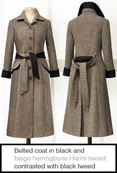 Katherine Hooker Belted coat in herringbone