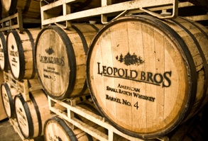 Leopold Brothers Small Batch American Whiskey aging in barrel