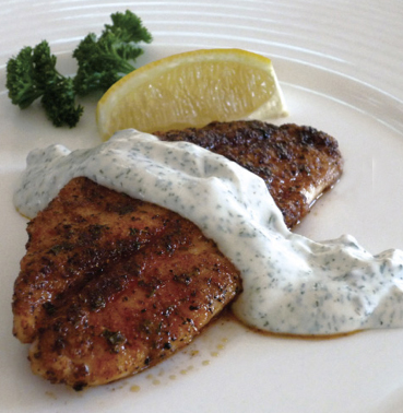 Spicy Lionfish with Dill Sauce - The Lionfish Cookbook: The Caribbean's New Delicacy