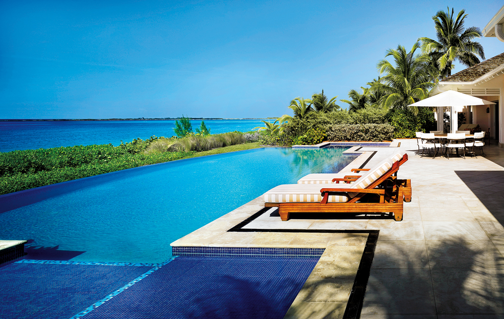 Villas offer private pools and beach access.