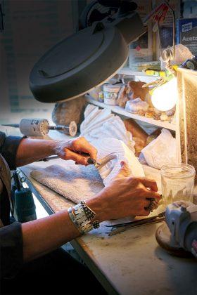 Dixie working in her studio.