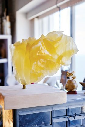 So Blond, a sculpture made of translucent honeycomb calcite.