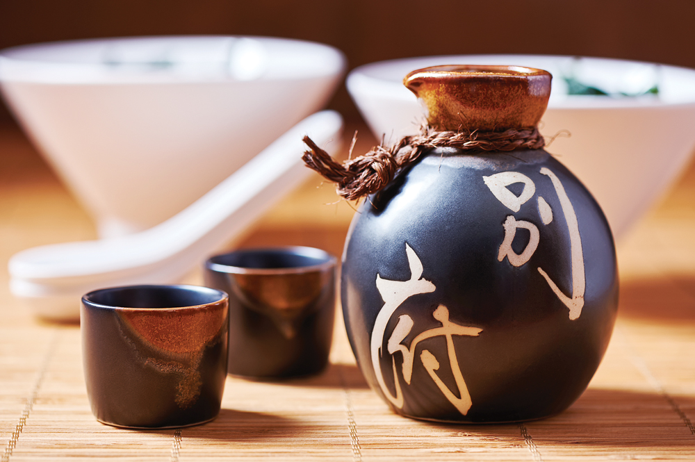 Japanese Sake set from a bottle and two shot glasses