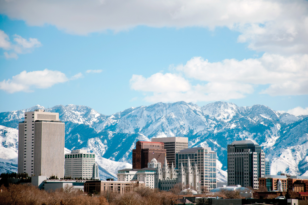Winter daytime shot of Salt Lake City. Featured is the temple from the Church of Jesus Christ of Latter Day Saints or the Mormons