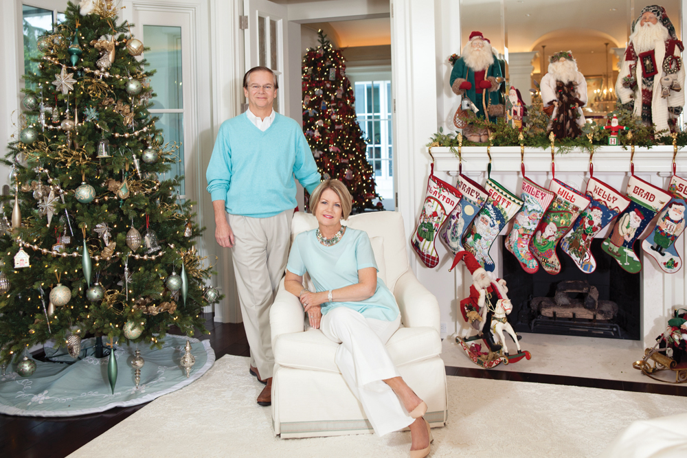 Bill and Susie Johnson at home during the holidays