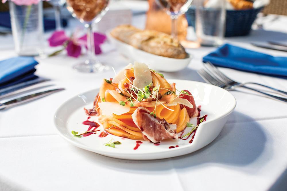 Cantaloupe and prosciutto, Bleu Provence