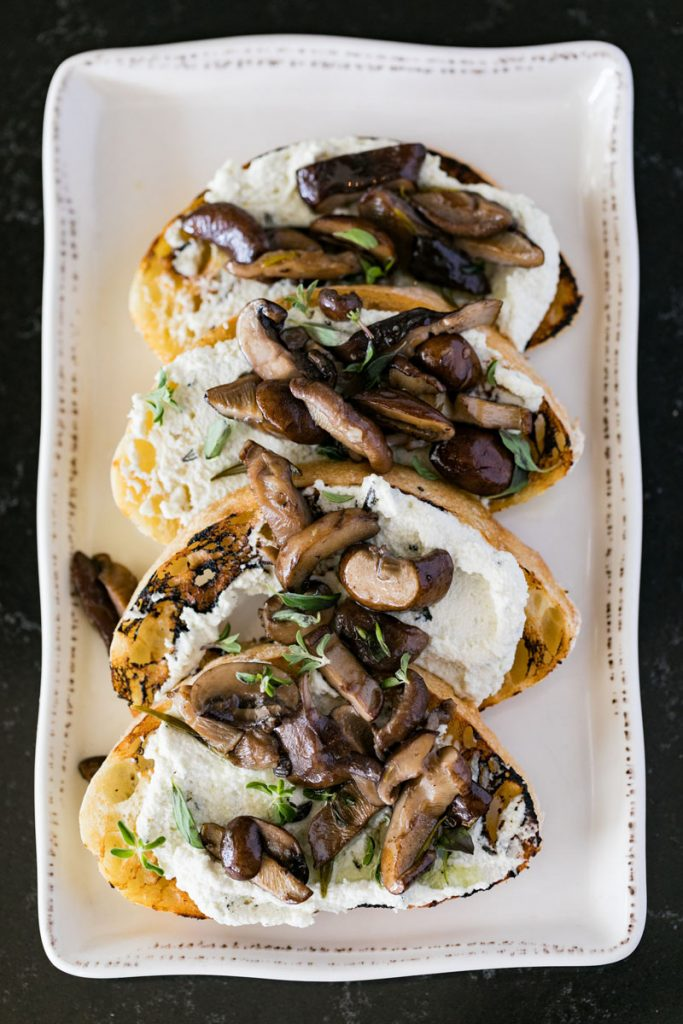 The Local's Mushroom Bruschetta, with house-made almond cheese