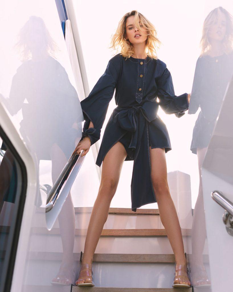 Oscar de la Renta blouse, shorts; Salvatore Ferragamo heels.