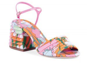 Floral-print block heel sandals ($850), FendI