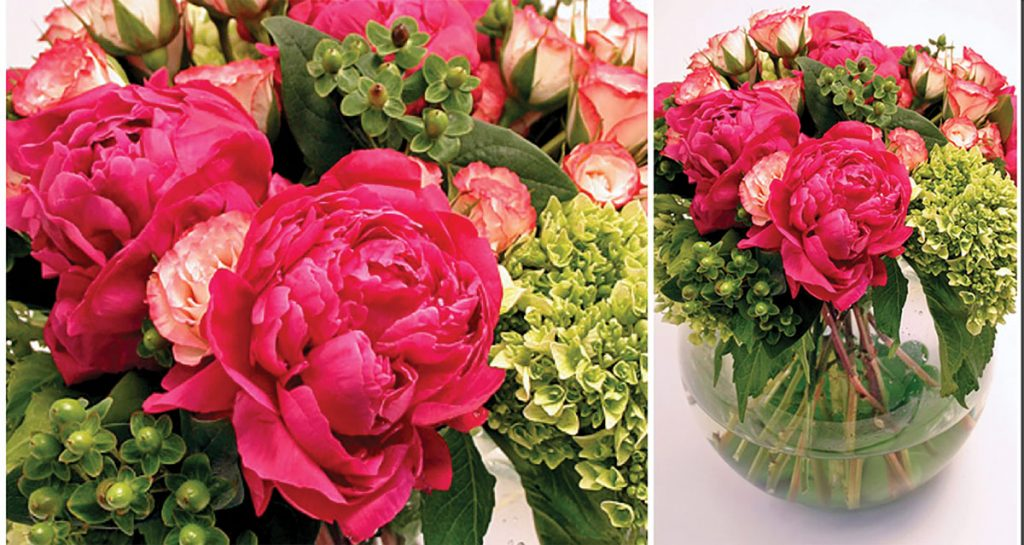 Usher in a new season with a fragrant flower arrangement from the Garden District, like this one composed of fuchsia peonies, bright green hydrangeas, and bi-colored roses ($95). Garden District, Naples (gardendistrictnaples.com)