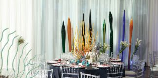 The coral-themed table scape.
