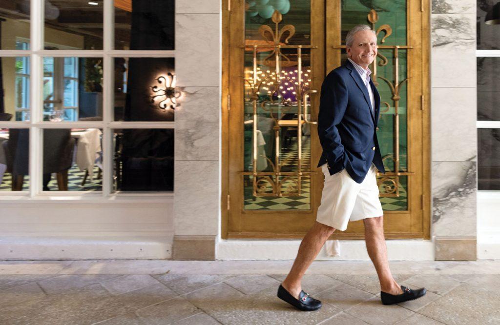 Blazer, Brooks Brothers; shirt, Peter Millar; shorts, Ballin; shoes, Gucci.