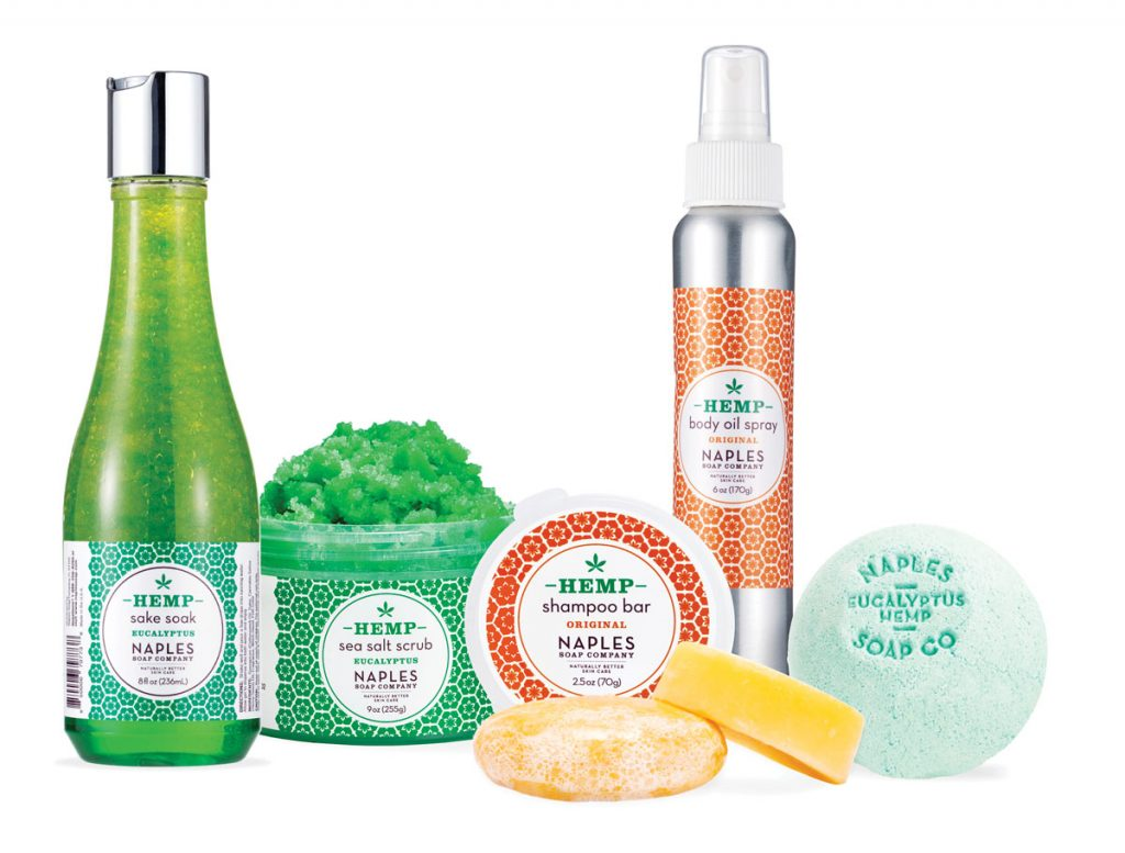 The hottest trend in skin and hair care is products made with hemp oil. Try it out in unisex scents such as original and eucalyptus from the Naples Soap Company, available as a sea salt scrub ($38), bath bomb ($8), body oil spray ($22), sake soak ($15), and shampoo bar ($12). Naples Soap Company locations (naplessoap.com)