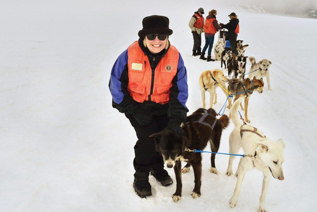 Patton enjoys unique activities such as dogsledding.