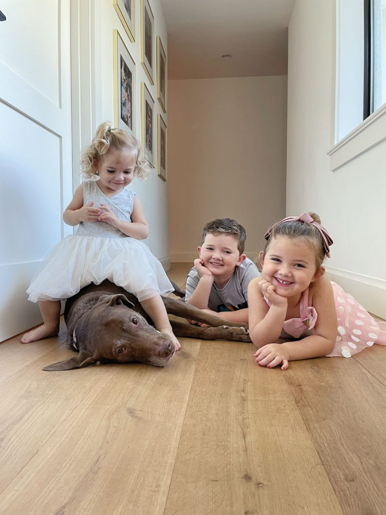 Carolyn Kurtz Gordon's three children, Lucy (age 2), Noah (age 7), and Isla (age 4), with their chocolate lab Riley