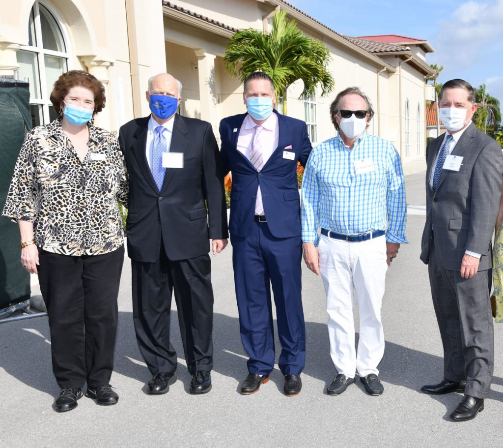 Janet Vasey, Mike Armstrong, Keith Maples, Thomas Brick, and Paul Hiltzat at the Neighborhood Health Clinic groundbreaking ceremony