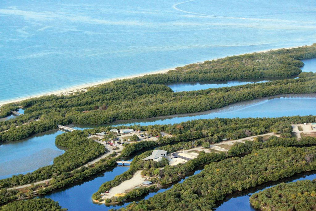 The new Welcome & Discovery Center takes center stage in this recent aerial view of the 1,616-acre Lovers Key State Park. <br/> Photos courtesy of OAK Construction