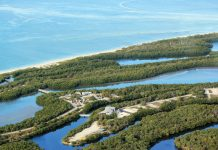 The new Welcome & Discovery Center takes center stage in this recent aerial view of the 1,616-acre Lovers Key State Park. Photos courtesy of OAK Construction