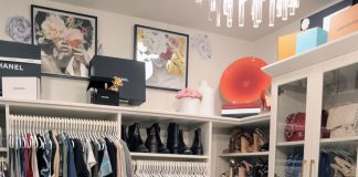 A recent project by Beyond the Closet, with similar items of clothing grouped together to control the clutter