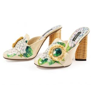 Audrey's of Naples, Naples Design District, Dolce & Gabbana floral mules with rattan heels ($590), Photo by Michael Caronchi