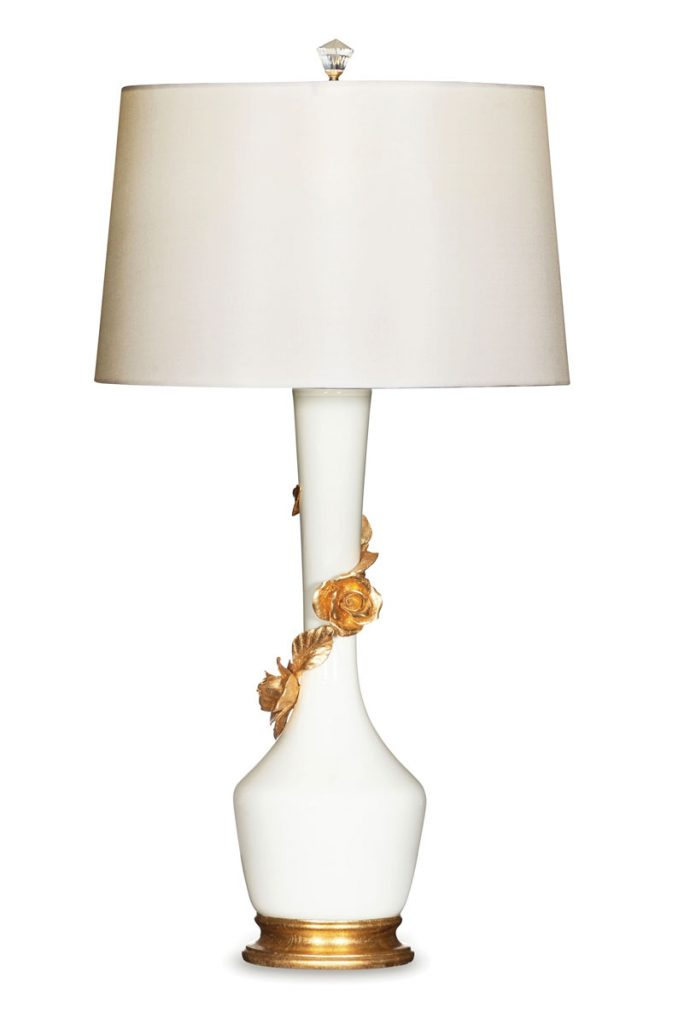 Summerfields, Naples Design District, white ceramic lamp with gold-leaf flowers ($747)