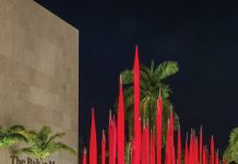 Red Reeds, Dale Chihuly,2010, Artis Naples, The Baker Museum, installed 2020. Photo courtesy Chihuly Studio