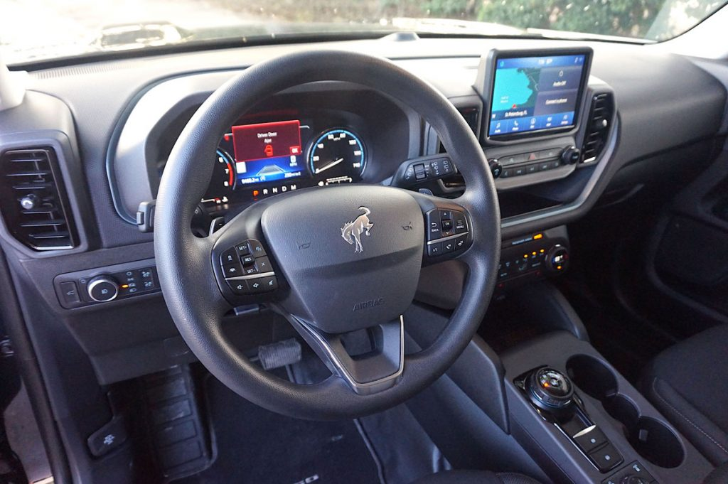 2021 Ford Bronco Sport steering wheel and dashboard