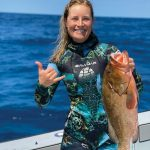 Adrienne Gilhart with a fresh catch