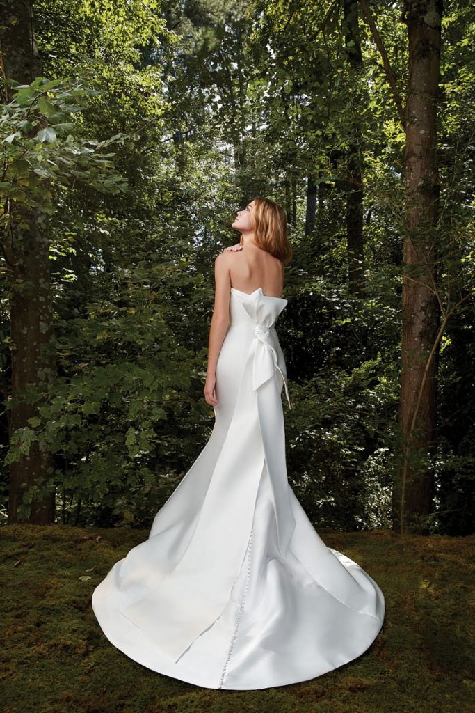 Bisous draped trumpet gown in Mikado ($3,510), Anne Barge, Couture Bridal, Surfside