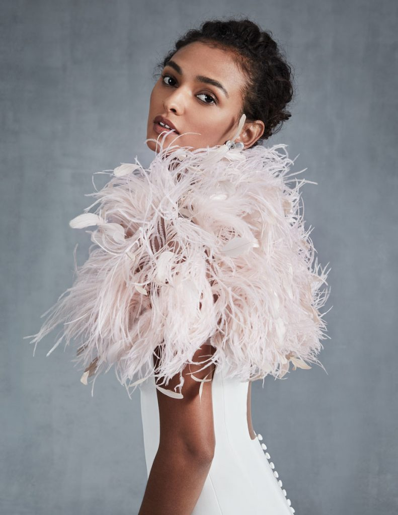 Feather bolero/shrug in pale pink ($1,490), Ines di Santo, Chic Parisien, Coral Gables