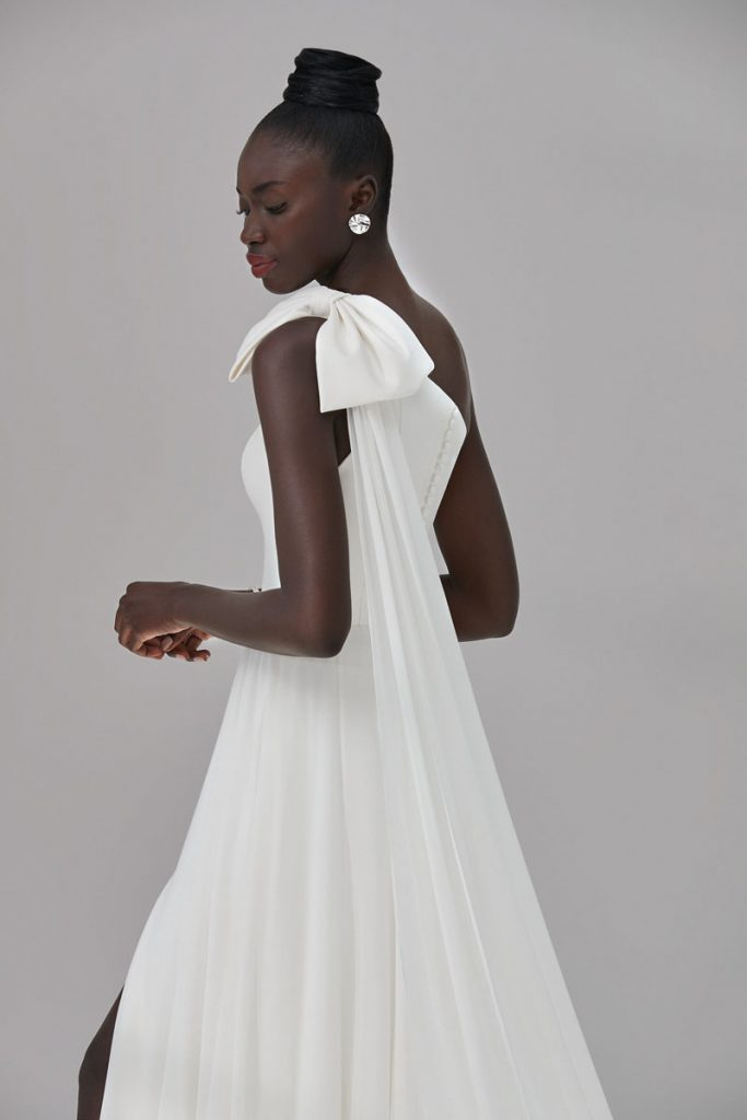 Grammercy gown in Mikado with bow and detachable chiffon streamer (approximately $2,158), Justin Alexander Signature, Palm Bridal, Naples