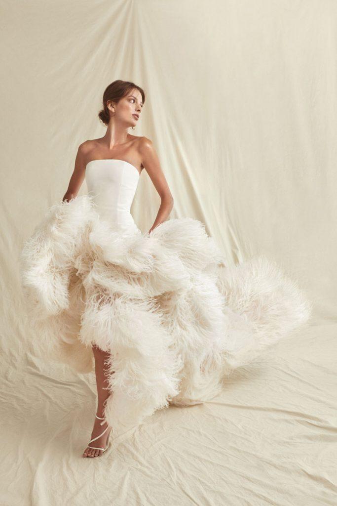 Optic white silk organza gown with ostrich feather trim ($19,990), Oscar de la Renta, special order, Marissa Collections, Naples