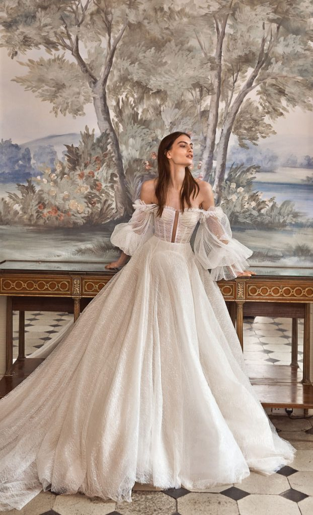 Seraphina sparkling tulle ball gown with pleated lantern sleeves and a sheer-paneled corset ($7,440), Galia Lahav, Miami