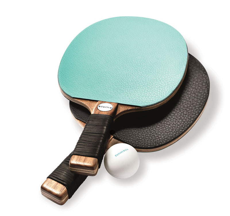 Everyday Objects leather and walnut table-tennis paddles ($700 for set of two), Tiffany & Co., Naples