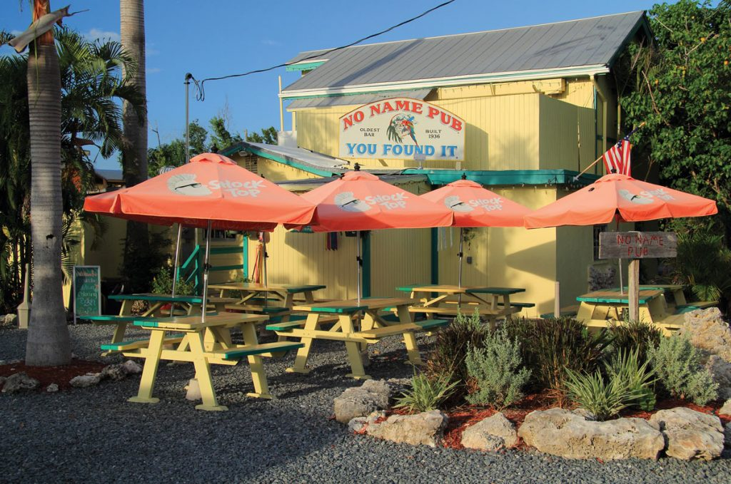 No Name Key, FL – August 4, 2018: Though off the beaten path, the famous No Name Pub is one of the more popular of the numerous eateries found in the Florida Keys