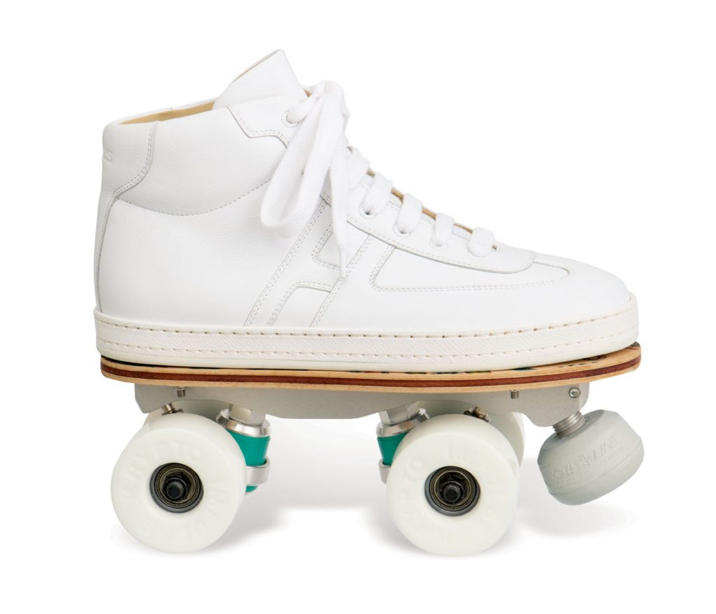 """Roller skate and high top sneaker with sublimated """"Savana Dance"""" print ($4,700), Hermès"""