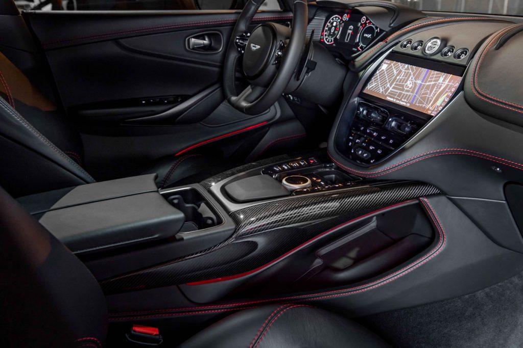Aston Martin DBX dashboard and gear shift area